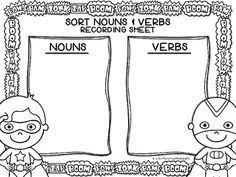 noun sort 5 free printables for nouns and verbs 2nd grade cc