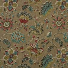 teal red fabric abstract floral upholstery fabric modern