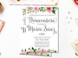 Quinceanera Invitation Cards Quinceañera Invitacion De Cumpleaños Quinceanera Floral Quince