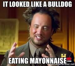 Mayonnaise Meme - it looked like a bulldog eating mayonnaise ancient aliens meme