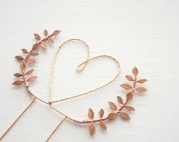 heart wedding cake copper cake topper etsy