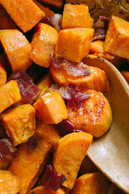 sweet potatoes recipes for thanksgiving maple roasted sweet potatoes and bacon natashaskitchen com