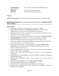 Oracle Dba Sample Resume For 2 Years Experience by Oracle Dba Resume For 4 Year Experience Resume Sample