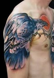 men chest cover up with outstanding black crow tattoo