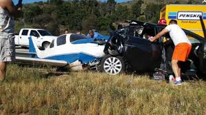 small plane crashes into car on california freeway abc news