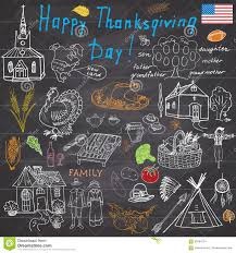 thanksgiving traditional thanksgiving doodles set traditional symbols sketch collection