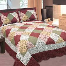Beige Coverlet Mk Collection 2pc Bedspread Floral Patchwork Off White Burgundy