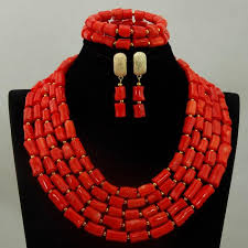 fashion jewelry red necklace images Luxury 5 layers red coral bridal beads fashion jewelry set new jpg
