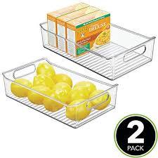 kitchen food storage pantry cabinet mdesign wide plastic kitchen pantry cabinet refrigerator or freezer food storage bin with handles organizer for fruit yogurt snacks pasta bpa