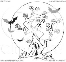 clipart of an outlined cartoon halloween spooky tree with vampire