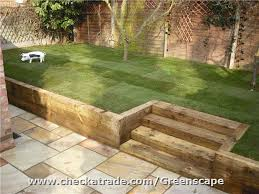 Small Garden Retaining Wall Ideas Retaining Sleeper Walls Steps New Fence Lawn And Patio