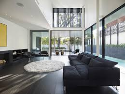 Glass House Floor Plans Modern White Wall Glass House Floor Plans With Black Modern Sofas