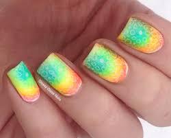 neon gradient nail design glossy glaze nails