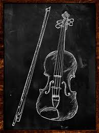 violin drawing sketch on blackboard music photo free download
