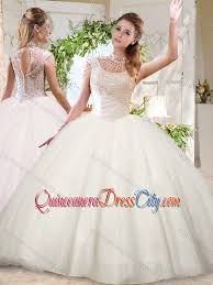 see through white ball gowns high neck sequins beaded discount