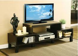 Modern Corner Tv Stands For Flat Screens Small Dark Painted Oak Wood Tv Stand With Open Shelves Of Stylish