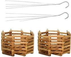 hanging planter basket wooden hanging planter basket plant flower holder hanger box 2