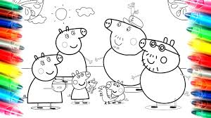 peppa pig family granny and grandpa pig coloring book pages kids