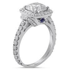 sapphire accent engagement rings ct cut engagement ring w sapphire accents r189