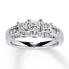 kay jewelers class rings jared three stone diamond ring 1 ct tw princess cut 14k white gold