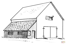 barn coloring page barn and lean to coloring page free printable