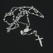 white rosary rosary 14k white gold small rosary bead necklace