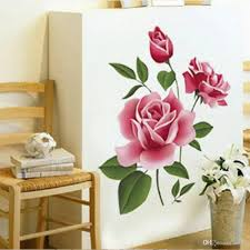 Romantic Home Decor Pvc 3d Rose Flower Romantic Love Wall Sticker Removable Decal Home