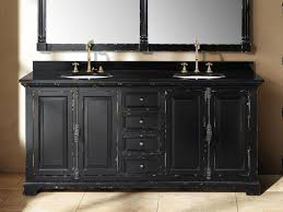 bathroom black wooden bathroom vanity with double round sink and