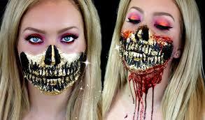 Halloween Skeleton Makeup Ideas Gold Leaf Skull Makeup 24k Gold Jade Madden Youtube