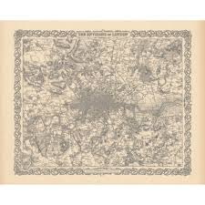 greater london vintage map poster for home interior handmade