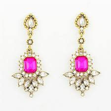 rhinestone earrings fringed drops fuchsia and rhinestone earrings by