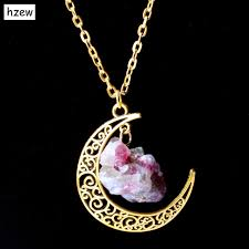 aliexpress moon necklace images Hzew sailor moon necklace sun and moon jewelry gold natural stone jpg