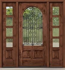 wood and glass exterior doors rustic entry door with wrought iron between glass