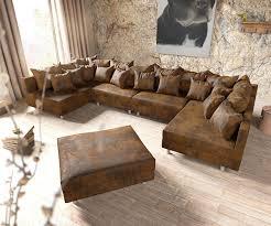 couch mit hocker couch clovis xl braun antik optik mit hocker wohnlandschaft