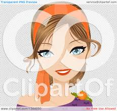 young halloween background clipart of a young blue eyed caucasian woman wearing an orange