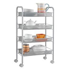 amazon com langria 4 tier kitchen rolling bar cart wire mesh