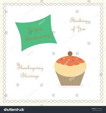 thanksgiving cupcake thinking you stock illustration 219690655