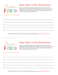 baby shower questions baby shower observation skill