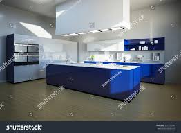 blue kitchen island 3d illustration clean blue kitchen island stock illustration