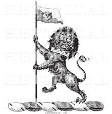 Lion Flag Historical Vector Illustration Of A Lion Crest Featuring A Flag