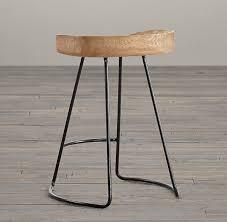 1950s oak tractor seat stool