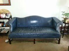 Camelback Leather Sofa by Vintage Navy Leather Camelback Sofa I Would Put This In My Office