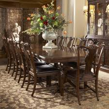 11 piece double pedestal dining table and splat back leather side