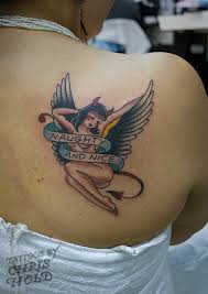 naughty u0026 nice angel devil pinup tattoo devil angel and tattoo
