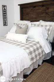 farmhouse tan gingham check plaid duvet custom designer bedd
