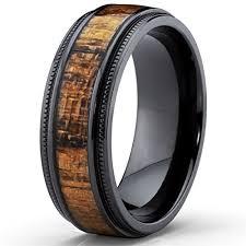 wood wedding band black titanium wedding band with real koa wood inlay