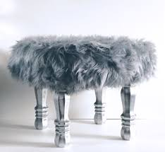 Silver Vanity Chair Grey Faux Fur Stool Fur Covered Stool Accent Piece Regency