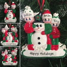 a snowman family personalised tree decoration