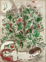 marc chagall paradise tree of knowledge original lithograph bible
