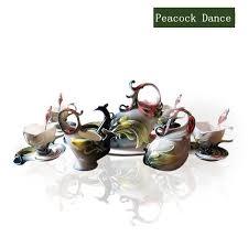 Coffee Set peacock enamel tea set coffee set ceramicslife